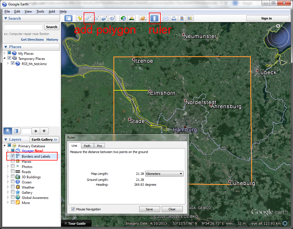 Edit ROI in Google Earth