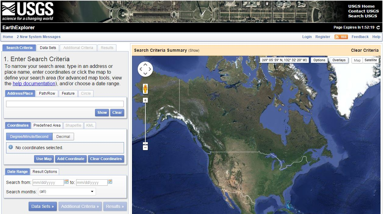 USGS EarthExplorer Interface